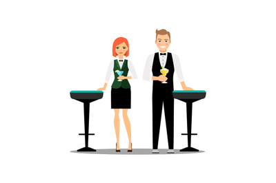 Bartenders couple with cocktails and bar chairs isolated on white back