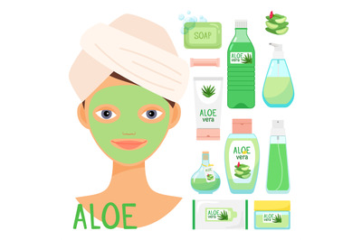 Beauty treatments with organic aloe vera cosmetics vector illustration