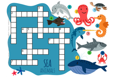 Vector sea animals crossword template with cartoon characters