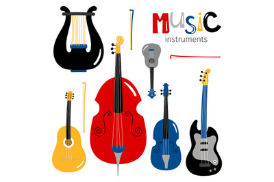 Vector stringed musical instruments icons isolated on white background
