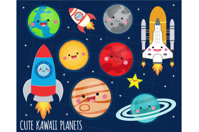 Solar System clipart, kawaii planets graphics, Space clipart, kawaii