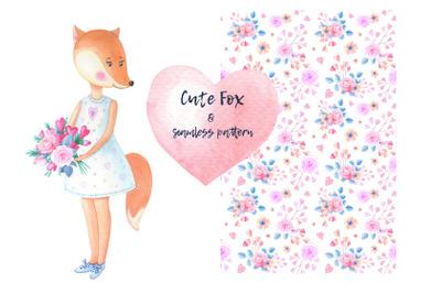 Fox-Girl.Watercolor