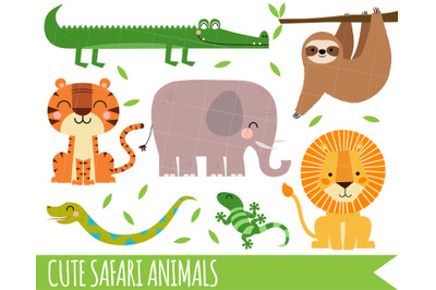 Safari Clipart, Jungle Clipart, Lion Clipart, Sloth, Crocodile, snake