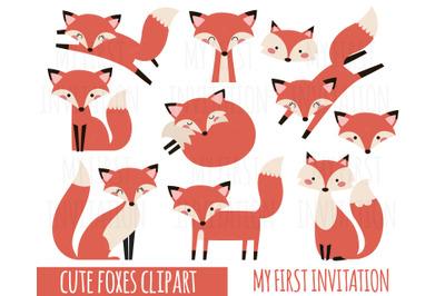 Fox Clipart, Cute Fox Clipart, Baby Shower Clipart, woodland animals