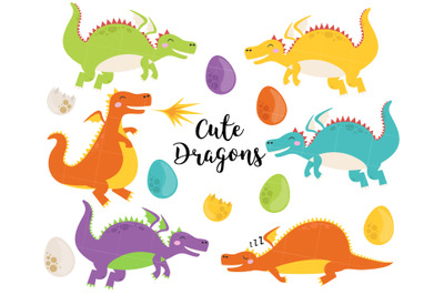 Dragons clipart, cute dragon clip art, fantasy clipart