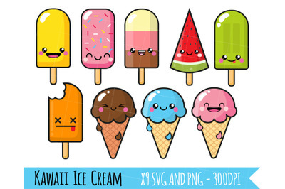 Ice Cream Clipart, Kawaii ice cream, popsicles, summer clipart