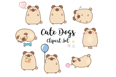 Dogs Clipart, puppies clipart, pug clipart, kawaii dogs