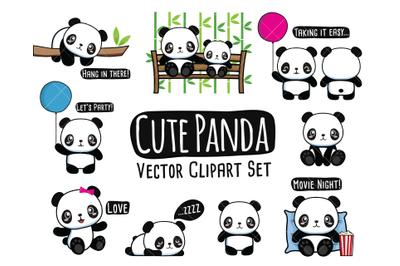 Panda Clipart, Cute Pand Clip art, Bear Clipart, Kawaii Panda