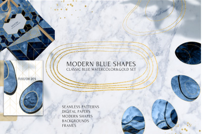 MODERN BLUE SHAPES Watercolor Set