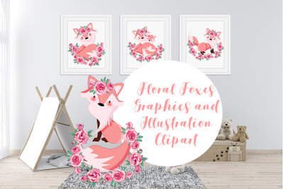 Floral Foxes Graphics and Illustration Bundle