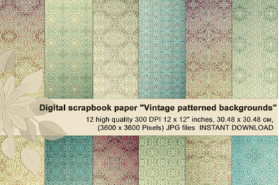 Vintage patterned backgrounds, beige-green digital paper.