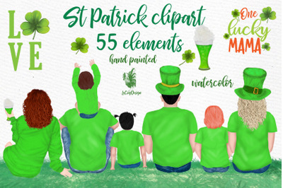 St Patricks Day Clipart, Irish Family ,Clover Lucky Charm