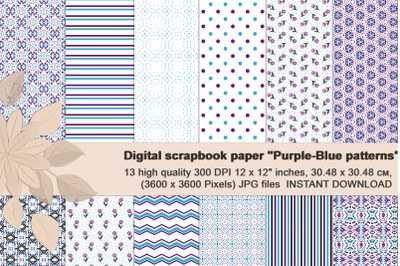 Purple and Blue Digital Patterned Digital Paper