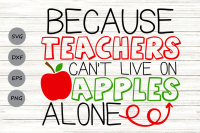 Because Teachers Can't Live on Apples Alone Svg, Teacher Svg.
