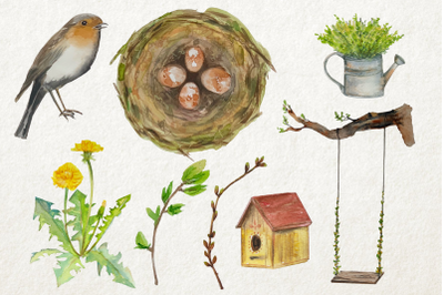 Watercolor Spring Time Clip Art Set