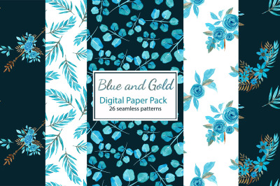 Blue and gold floral digital paper pack