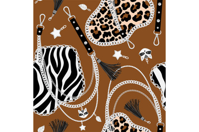 Tiger chains seamless pattern