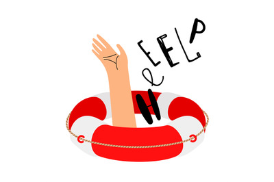 Lifebuoy and hand to call for help