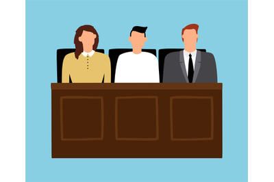 Jury in trial. Man and woman sitting in court