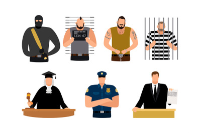 Justice people, prisoner and defendant, policeman, judge and lawyer
