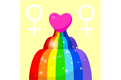 Wave rainbow with red heart. Elements of lgbt