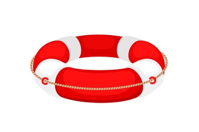 Red white lifebuoy isolated on white background