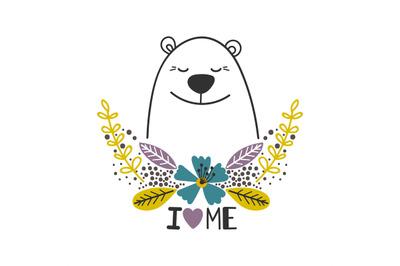 Love yourself icon with polar bear