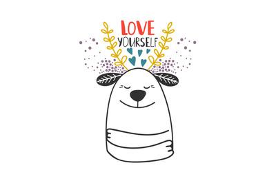 Love yourself dog card template