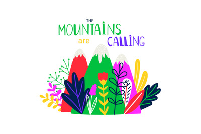 Abstract colored mountain. T-shirt design mountains calling