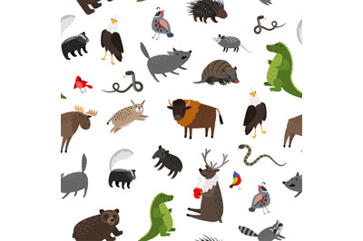 North america animals seamless pattern. Vector illustration