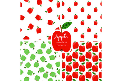 Apple seamless pattern, green and red fruits