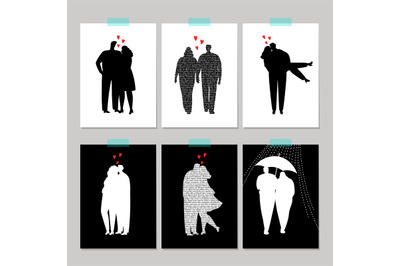 Set of card with black silhouette love couple
