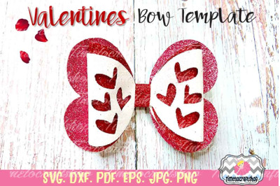 Valentines Cutout Hearts Bow, Sweetheart bow, Valentine's Day Bow