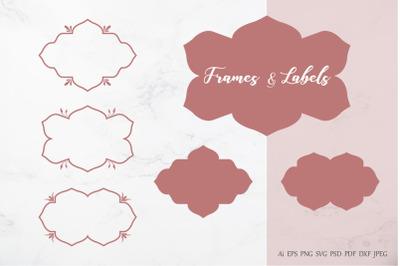 Decorative floral frames and labels vector design element.