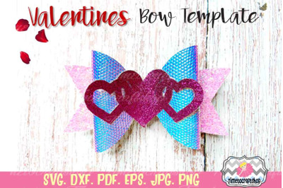 Valentines Hearts Bow, Love bow, Valentine's Day Template SVG, PNG, DX
