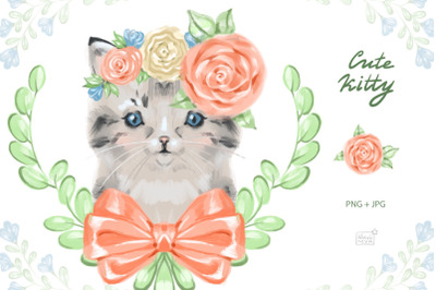 Cute baby cat cliparts