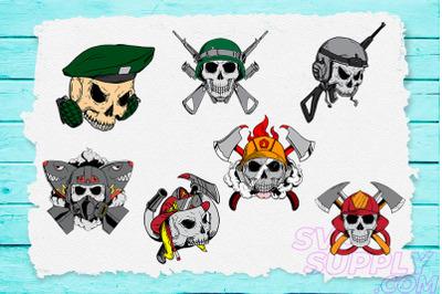 Skull Profession T-shirt Design Bundle