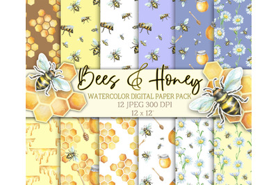 Watercolor digital paper with bees and honey. Seamless pattern patter