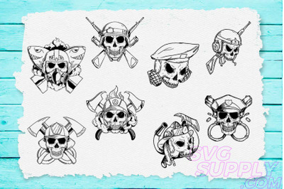 Skull Line Art T-shirt Design Bundle