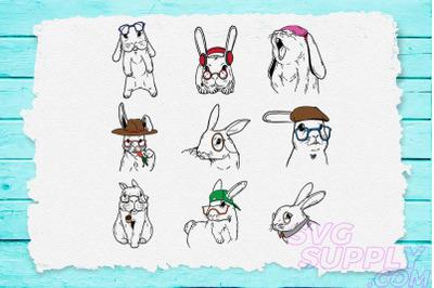 Rabbit Line art Design Bundle