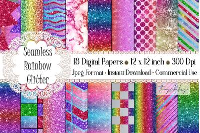 18 Seamless Rainbow Unicorn Mermaid Glitter Digital Papers