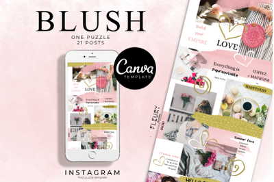 BLUSH - Instagram Puzzle Template for Canva