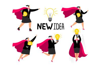 Super businesswoman new idea icons