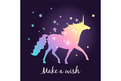 Unicorn silhouette with stars poster