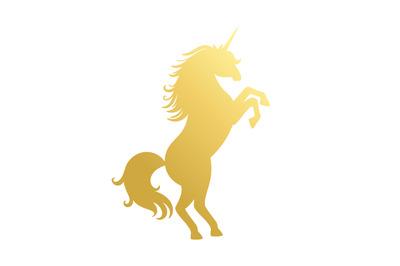 Unicorn golden silhouette