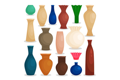 Vases colorful icons set