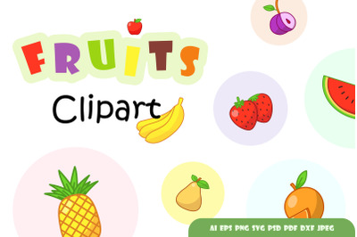 Set of colourful fruits clipart.