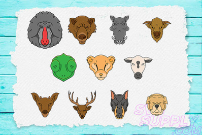 31 Animal Head T-Shirt Design Bundle
