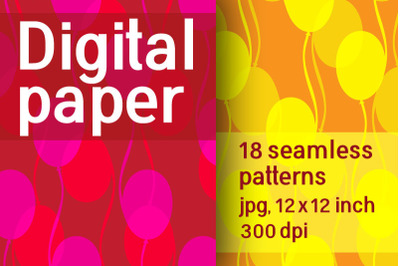 Set of 18 seamless patterns of balloons. Digital Retro paper