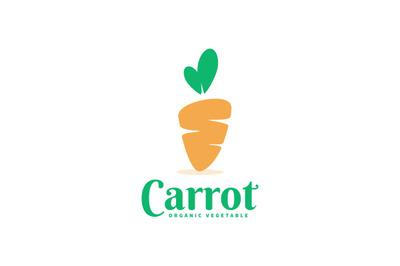 Orange carrot logo vector template for your business, farm, vegetable